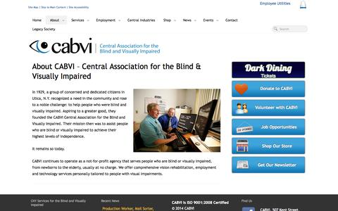 Screenshot of About Page cabvi.org - Learn About CABVI of Utica, NY Services for Blind & Visually Impaired - captured Oct. 8, 2014