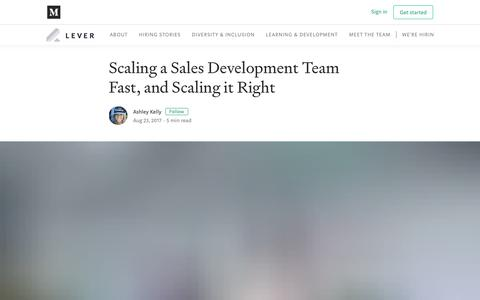 Screenshot of Blog lever.co - Scaling a Sales Development Team Fast, and Scaling it Right - captured May 20, 2019