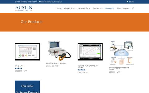 Screenshot of Products Page austinconsultants.co.uk - Our Products - captured Dec. 27, 2015