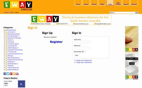 Screenshot of Login Page chiredzi.co.zw - Login « EWAY Chiredzi - The Local Business Directory for the South Eastern Lowveld - captured June 5, 2016