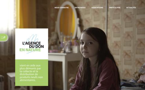 Screenshot of Home Page adnfrance.org - Accueil - Agence du Don en Nature - captured Sept. 30, 2016