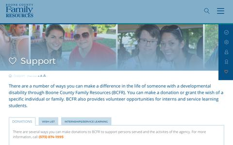 Screenshot of Support Page bcfr.org - Support   Boone County Family ResourcesBoone County Family Resources   We help people with developmental disabilities thrive, connect, and achive - captured Oct. 10, 2017