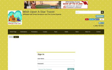 Screenshot of Login Page wishuponastartravel.com - Sign In | Wish Upon A Star Travel - captured Dec. 14, 2016