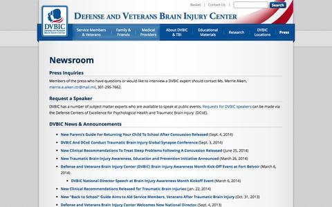 Screenshot of Press Page dcoe.mil - Newsroom | DVBIC - captured Sept. 23, 2014