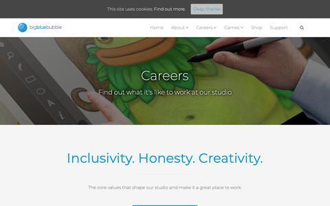 Screenshot of Jobs Page bigbluebubble.com - Careers – Big Blue Bubble - captured Oct. 25, 2018