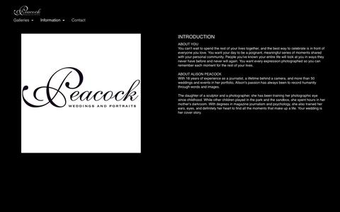 Screenshot of About Page peacockweddings.com - About - Peacock Weddings and Portraits - captured Sept. 27, 2018