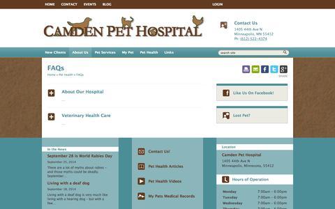 Screenshot of FAQ Page camdenpet.com - FAQs | Veterinarians Minneapolis | Camden Pet Hospital - captured Oct. 1, 2014