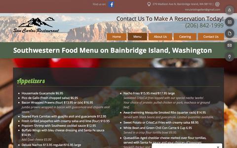 Screenshot of Menu Page sancarlosgrill.com - Mexican Food Menu - Bainbridge Island, WA - San Carlos Bar and Grill - captured July 1, 2018