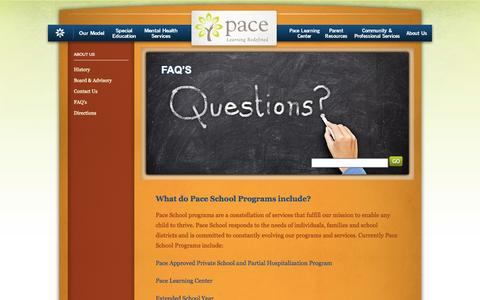 Screenshot of FAQ Page paceschool.org - FAQ's - captured Sept. 26, 2014