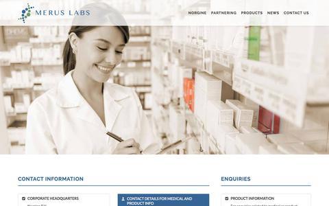 Screenshot of Contact Page meruslabs.com - Merus Labs - A Specialty Pharma Company - captured Nov. 1, 2017