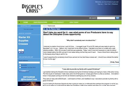 Screenshot of Testimonials Page disciplescross.com - Testimonials - captured June 4, 2017