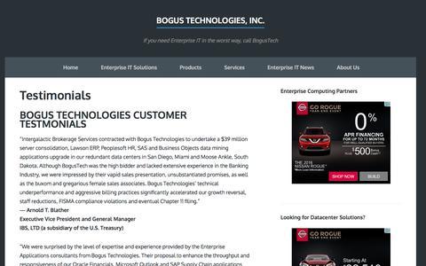Screenshot of Testimonials Page bogustech.com - Testimonials - Bogus Technologies, Inc. - captured Nov. 23, 2016