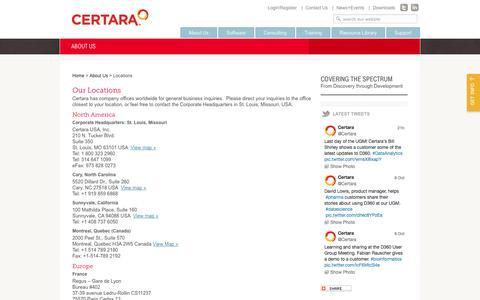Screenshot of Locations Page certara.com - Our Locations - Certara - captured Oct. 10, 2014