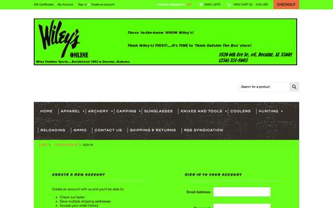 Screenshot of Login Page mybigcommerce.com - Wiley'sOutdoorSports - Sign in - captured Oct. 26, 2014