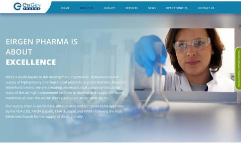 Screenshot of About Page eirgen.com - EirGen Pharma |   About Us - captured Nov. 1, 2014