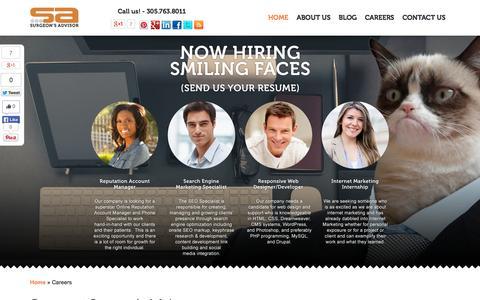 Screenshot of Jobs Page surgeonsadvisor.com - Internet Marketing Jobs | Careers - captured Sept. 19, 2014