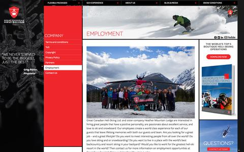 Screenshot of Jobs Page canadianheli-skiing.com - Employment - Great Canadian Heli-Skiing - captured Nov. 11, 2018