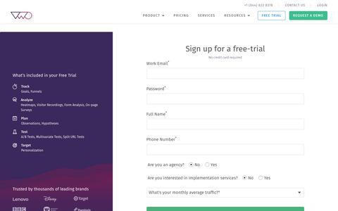 Screenshot of Trial Page vwo.com - Sign-up for a free, 30 day trial of VWO - captured Sept. 6, 2017