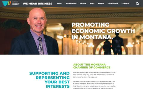 Screenshot of About Page montanachamber.com - About - Montana Chamber of Commerce - captured Nov. 16, 2017
