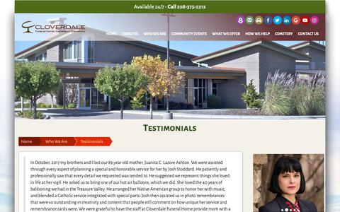Screenshot of Testimonials Page cloverdalefuneralhome.com - Testimonials | Cloverdale Funeral Home and Memorial Park | Boise, ID & Meridian, ID - captured Sept. 28, 2018