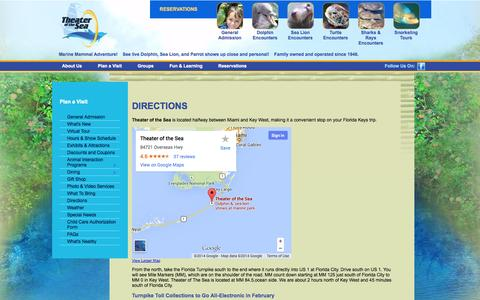 Screenshot of Maps & Directions Page theaterofthesea.com - Plan A Visit - Directions - Theater of the Sea - captured Nov. 2, 2014