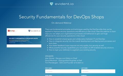 Screenshot of Landing Page evident.io - Security Fundamentals for DevOps Shops - On-demand Webinar - captured April 30, 2017