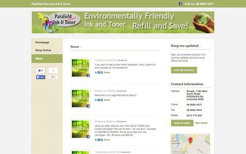 Screenshot of Press Page greenink.com.au - News - Parafield Discount Ink & Toner - captured Oct. 1, 2014