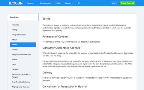 Screenshot of Terms Page raygun.io - Terms - raygun.io - captured Nov. 2, 2014