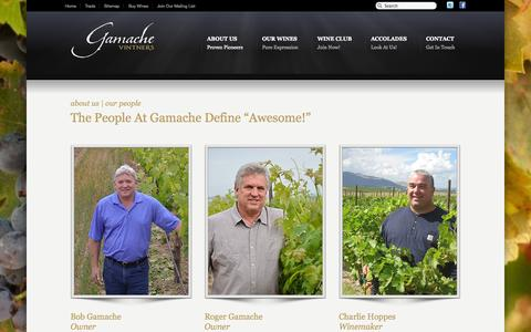 Screenshot of Team Page gamachevintners.com - Our People «  Gamache Vintners - captured Oct. 6, 2014
