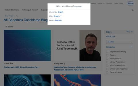 Screenshot of Blog roche.com - Blog - Roche Sequencing Solutions - captured July 16, 2019