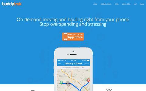 Screenshot of Home Page buddytruk.com - Buddytruk | On-demand moving and hauling - captured Sept. 13, 2014