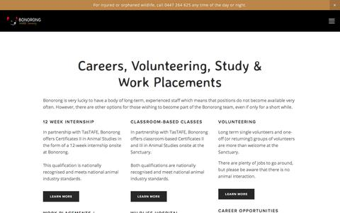 Screenshot of Jobs Page bonorong.com.au - Careers, Volunteering, <br /> Study & Placements — Bonorong Wildlife Sanctuary - captured Jan. 18, 2018