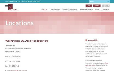 Screenshot of Locations Page transcen.org - Locations |  TransCen, Inc - captured Oct. 27, 2017