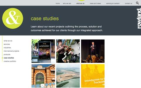 Screenshot of Case Studies Page rowland.com.au - Case Studies - Rowland - captured Sept. 30, 2014