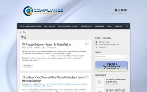 Screenshot of Blog compliance-insight.com - blog | - captured Jan. 30, 2016