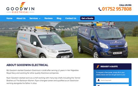 Screenshot of About Page goodwinelectrical.com - About Us | Goodwin Electrical | Plymouth & Devon Electricians - captured July 21, 2018