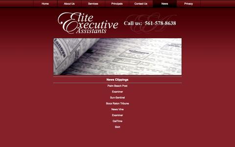 Screenshot of Press Page eliteea.com - South Florida: Business Services: Executive Assistants: EliteEA: About - captured Oct. 27, 2014