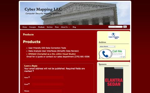 Screenshot of Products Page cybermapping.net - Products | Cyber Mapping LLC - captured Oct. 3, 2014