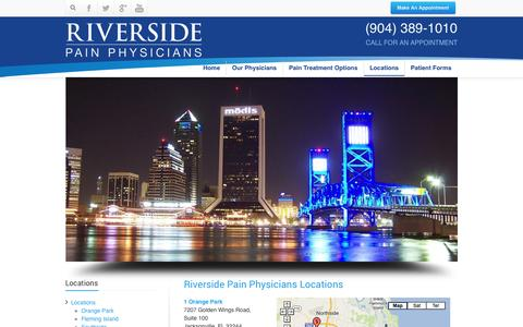 Screenshot of Locations Page riversidepainphysicians.com - Riverside Pain Physicians Location Jacksonville FloridaRiverside Pain Physicians 904-389-1010 Jacksonville - captured Oct. 7, 2014