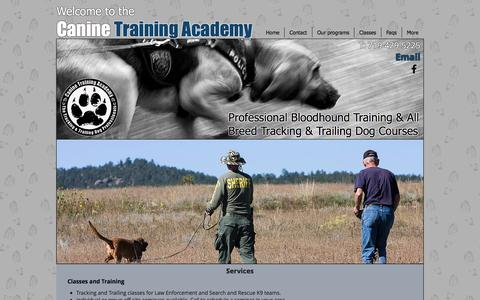 Screenshot of Services Page caninetrainingacademy.com - Canine Training Academy: Professional Bloodhound Training Courses - captured Oct. 21, 2016