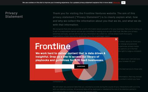 Screenshot of Privacy Page frontline.vc - Frontline - captured Oct. 11, 2018