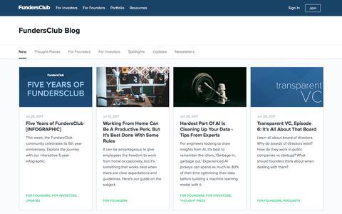 Screenshot of Blog fundersclub.com - Blog | FundersClub - captured April 22, 2018