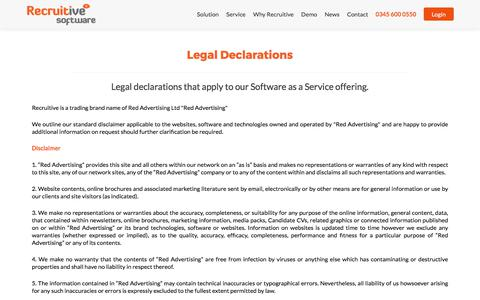 Screenshot of Terms Page recruitive.com - Legal Declarations - Recruitive - captured June 12, 2017
