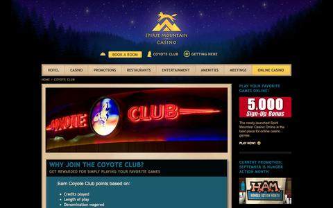 Screenshot of Signup Page spiritmountain.com - Coyote Club | Casino Promotions | Spirit Mountain Casino in Oregon - captured Sept. 23, 2014