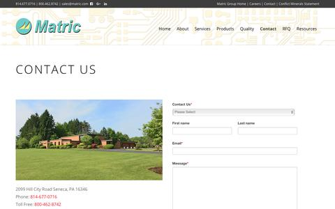 Screenshot of Contact Page matric.com - Contact Matric Group | Contract Electronics Manufacturing in Seneca, PA - captured Oct. 17, 2018