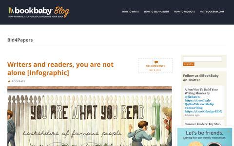 Screenshot of Blog bookbaby.com - Bid4Papers | BookBaby Blog - captured Feb. 27, 2017