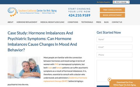 Screenshot of Case Studies Page socalbhrt.com - Can hormone imbalances cause changes in mood and behavior? - captured Oct. 18, 2018