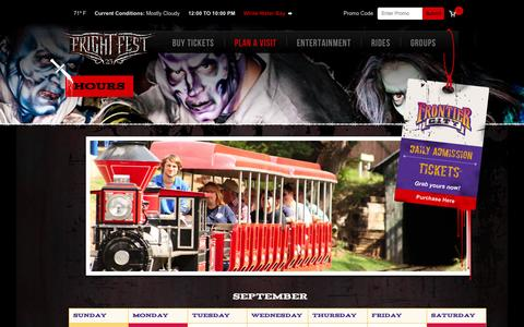 Screenshot of Hours Page frontiercity.com - Hours - Frontier City - captured Oct. 6, 2014