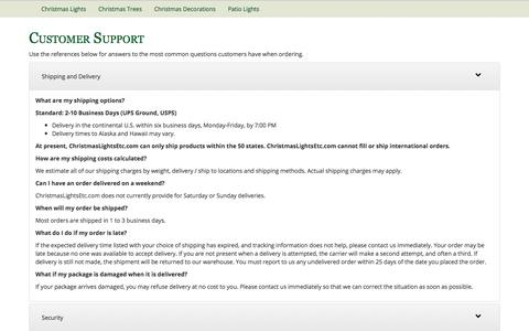 Screenshot of Privacy Page Support Page christmaslightsetc.com - Customer Support - captured Dec. 13, 2019