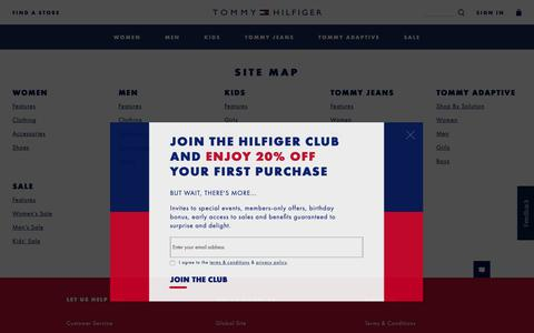 Screenshot of Site Map Page tommy.com - Site Map for Tommy Hilfiger - captured May 29, 2019